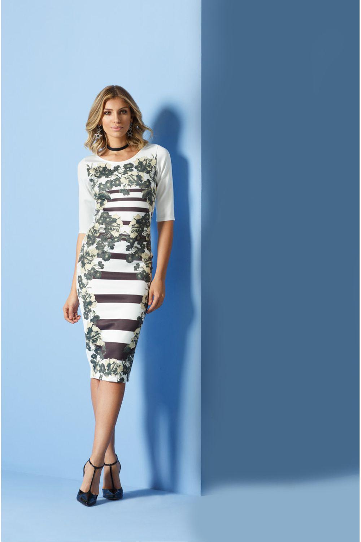 0fb001223 Vestido Midi Cityblue Estampado Bege - Carmim Modas