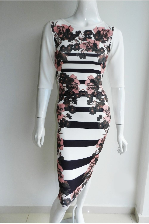 922377e5b Vestido Midi Cityblue Estampado Rosa - Carmim Modas