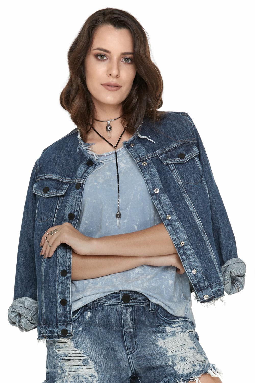 3d00a53ce Jaqueta Jeans Eventual Azul - Carmim Modas