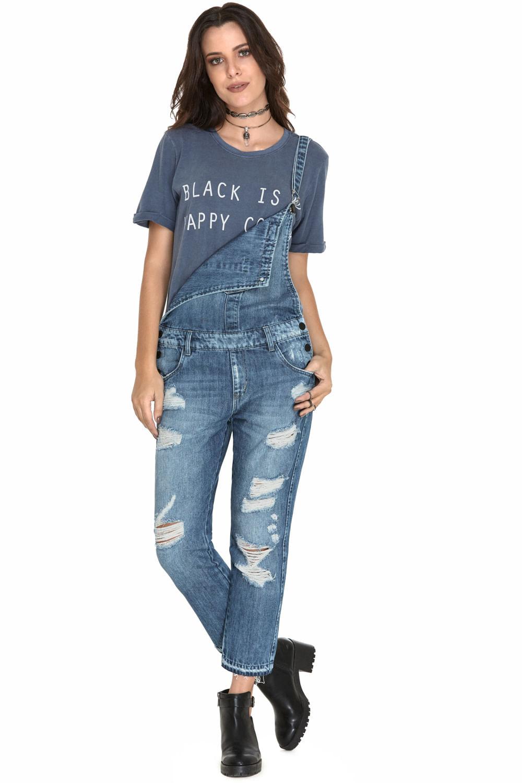 1682700ee Macacão Jeans Eventual Destroyed Azul - Carmim Modas
