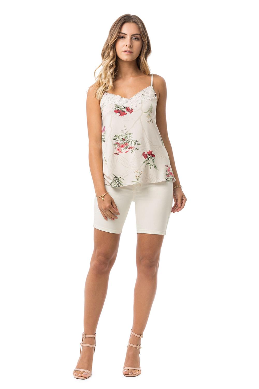 c91daa8b38e35 Blusa Lunender com Alças Floral Guipir Branca - Carmim Modas