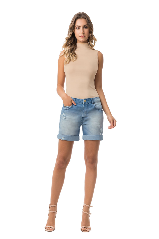 01c9c5e10 Bermuda Jeans Lunender Boyfriend Azul - Carmim Modas