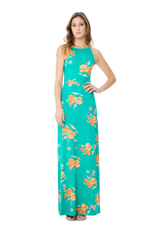 a10f5015c5 Vestido Lunender com Alças Longo Renda Verde - Carmim Modas