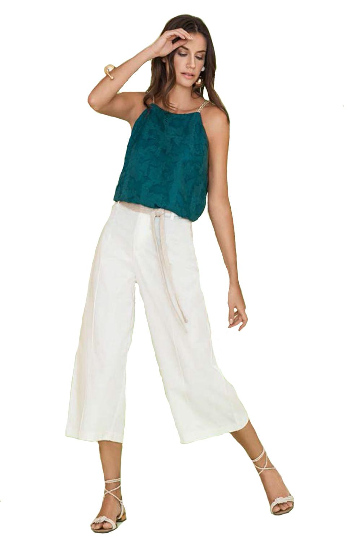 4214d899d653 Blusa Cava Francesa Maria Valentina Efeito Devore Verde - Carmim Modas