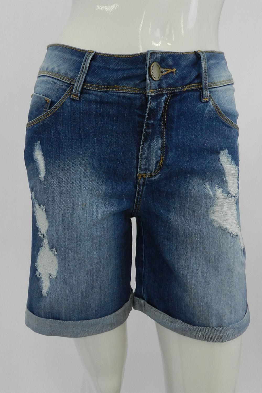 8a268921c Bermuda Lado Avesso Curve Jeans Destroyed Azul - Carmim Modas