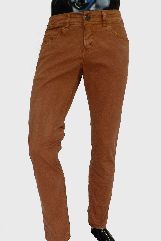 e88d6e815 Calça Eventual Jeans Skinny Marrom - Carmim Modas