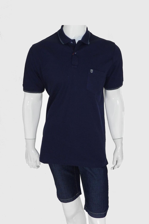 2b54fbdc1 Camisa Polo Individual Comfort Com Bolso Azul - Carmim Modas