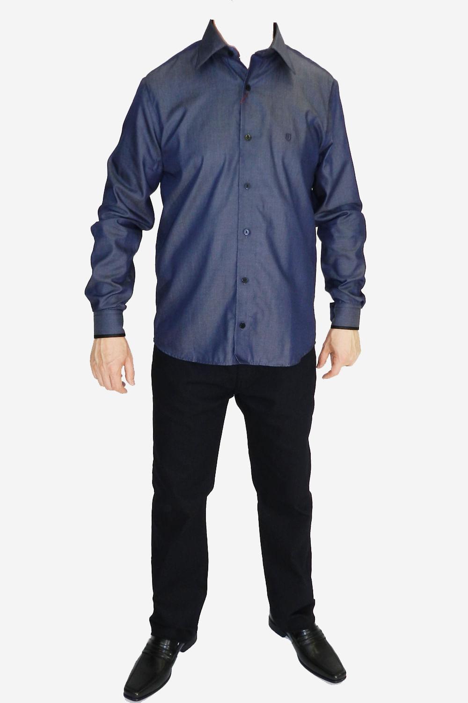 Camisa Individual Slim Fit Azul - Carmim Modas 562e168b9ffc5
