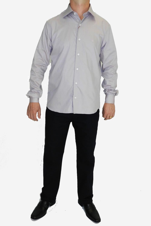 Camisa Individual Slim Fit Com Detalhes Lilas - Carmim Modas 9fc3ccf035f02