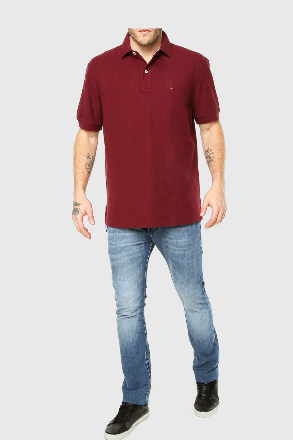 3493b53312 Camisa Polo Tommy Custom Fit Bordo - Carmim Modas