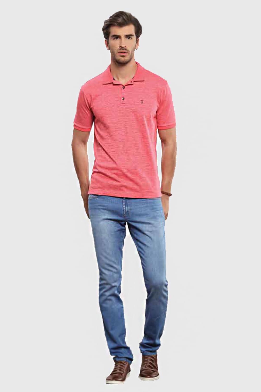 Camisa Polo Individual Slim Fit Meia Manga Pink - Carmim Modas 27ee840e8cf3b