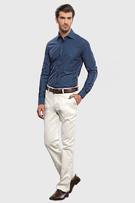Camisa Individual Slim Fit Manga Longa Azul Escuro - Carmim Modas d7bca53a4cc8d