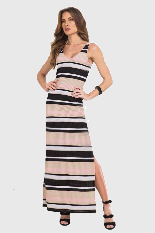 59ebee574 Vestido Lado Avesso Cool Stripe Longo Listrado Bege - Carmim Modas