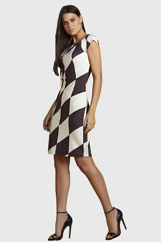 3383e774a Vestido La Rossi Geométrico Preto E Branco - Carmim Modas