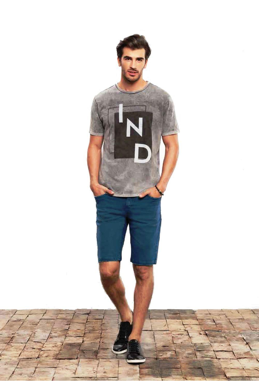Camiseta Individual Slim Fit Estonada Cinza - Carmim Modas d64efdb2b03d2