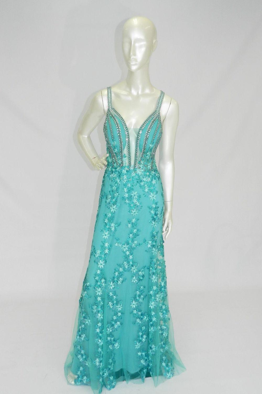 653a361e35 Vestido Longo Balance Alça Sereia Verde - Carmim Modas