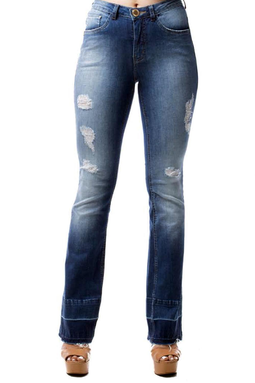 6ce081262 Calça Eventual Jeans Flare Mid Azul - Carmim Modas
