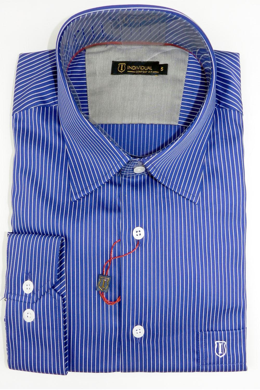 Camisa Individual Listrada Confort Fit Azul - Carmim Modas 255207190f8f7