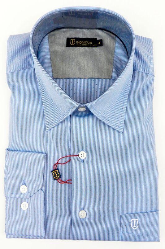 Camisa Individual Confort Fit Com Bolso Azul Claro - Carmim Modas 1603f6f97280e