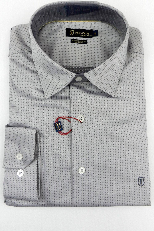 Camisa Individual Comfort Fit High Quality Cinza - Carmim Modas 7a6e9694e4cfb