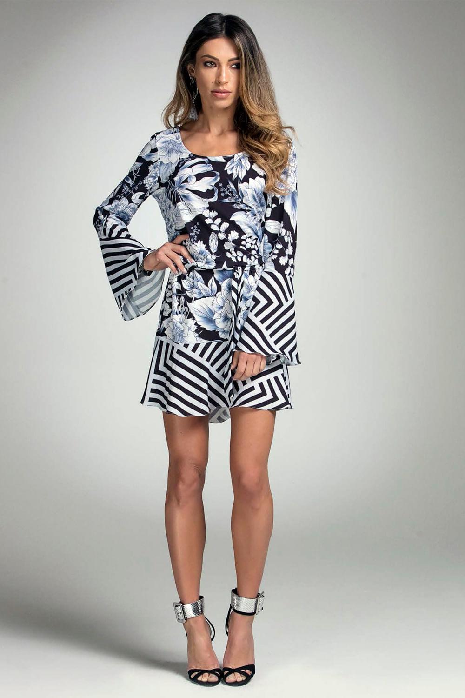 31fc10bdd Vestido Lado Avesso Fashion Estampa Compose Azul e Preto - Carmim Modas