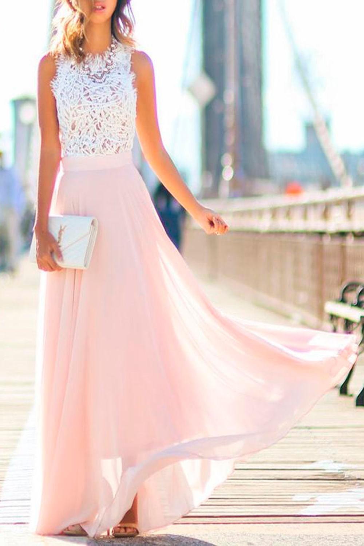 a7b74df19 Vestido MIdi Diva Rosa e Branco - Carmim Modas