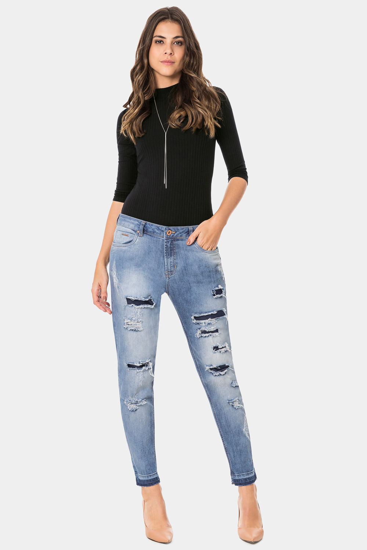 bebcc14ad Calça Lunender Jeans Boyfriend Azul - Carmim Modas