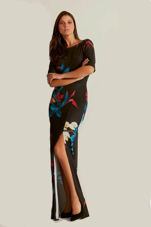 10767dd8f9b0c Vestido La Rossi Floral Preto - Carmim Modas