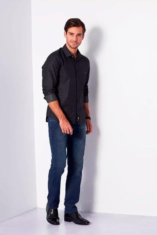 Camisa Aramis Super Slim Maquinetado Preto
