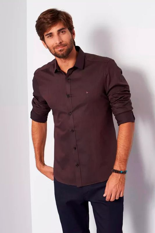 3743087624d1c Camisa Aramis Super Slim Jacquard Café - Carmim Modas
