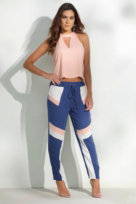 25eba5206 Calça Lado Avesso Tricolor Confort Azul - Carmim Modas
