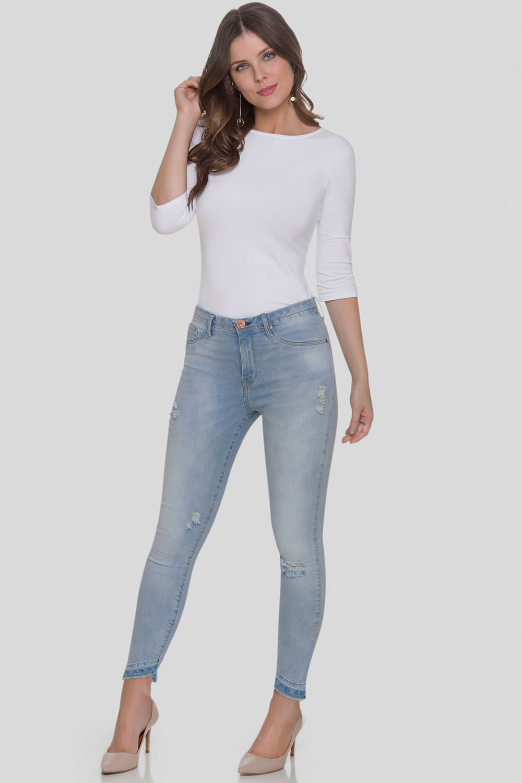 ab2cb7128 Calça Jeans Lunender Cropped Segunda Pele Azul Claro - Carmim Modas