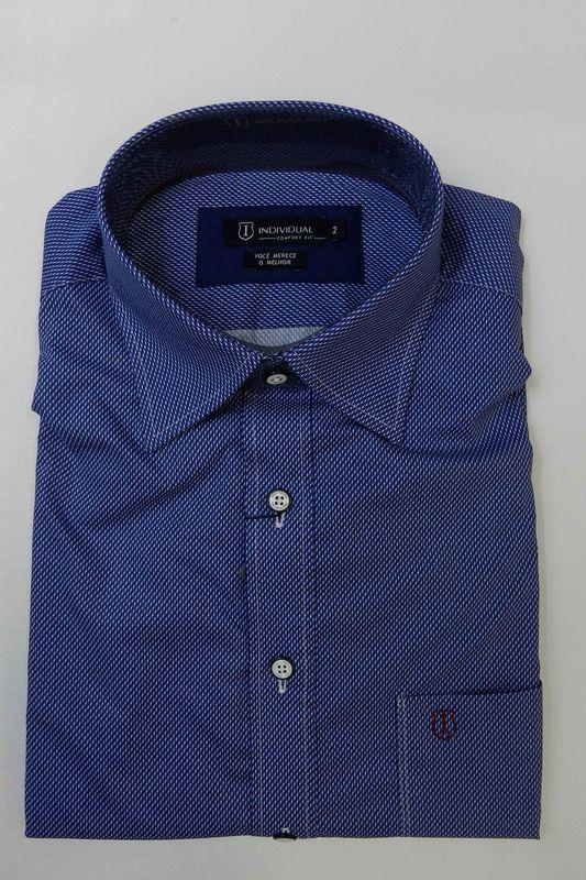 Camisa Individual Comfort Manga Curta Azul