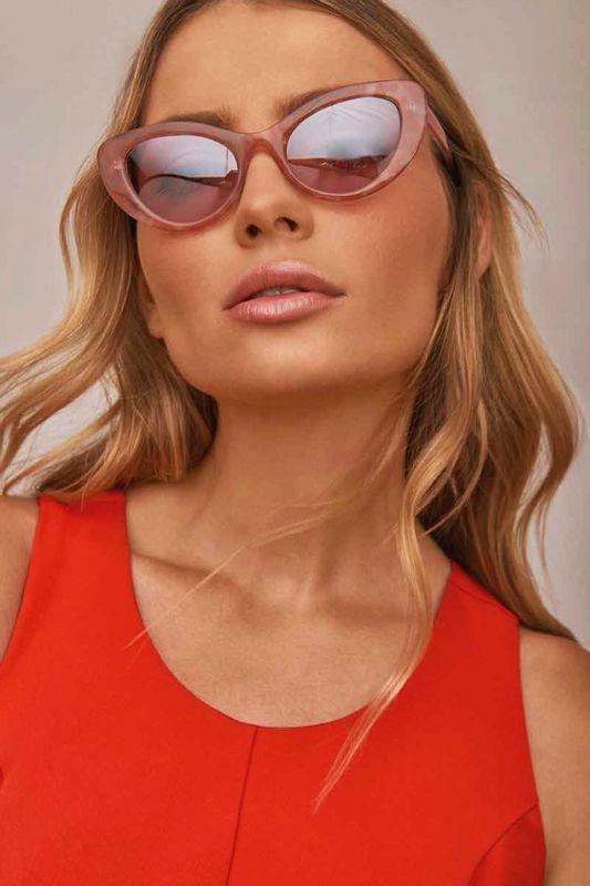 bcf535f29 Oculos Morena Rosa Gatinho Haste Personalizada Rosa