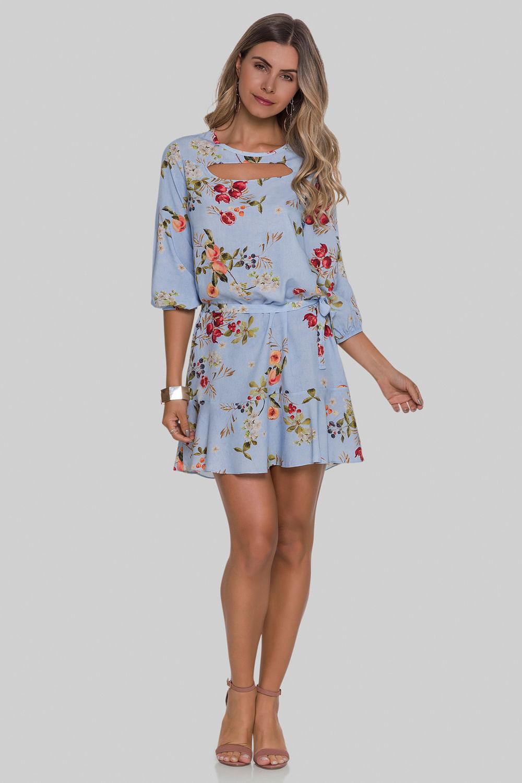c182b41ddc103 Vestido Floral Manga 3 4 Tecido Azul Cerulean - Carmim Modas