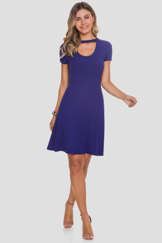 4d5c26b40 Vestido Malha Canelado Recorte Azul Cosmic - Carmim Modas