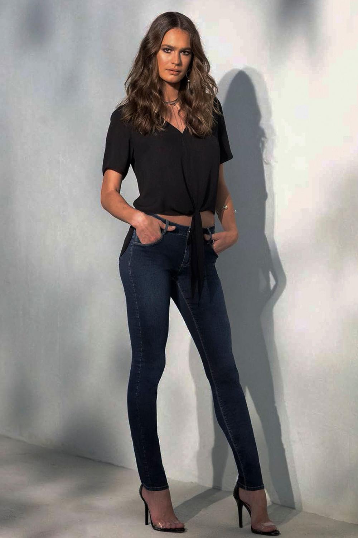 60a014a89 Calça Jeans Lado Avesso Curve Jegging Azul - Carmim Modas