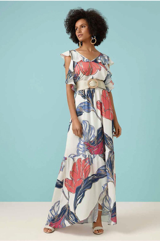 b1e7bae6e9d4e Vestido Longo Maria Valentina Floral Off-White - Carmim Modas