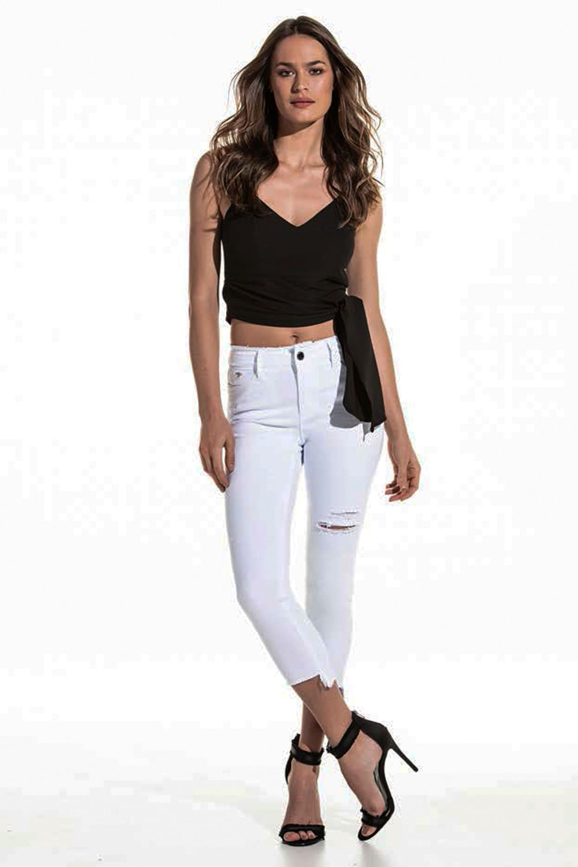 56bda0b01 Calça Jeans Lado Avesso Cropped Sculpt Branco - Carmim Modas