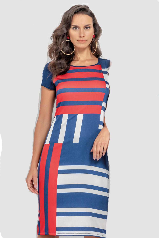 045405905 Vestido Realist Geométrico Azul e Vermelho - Carmim Modas