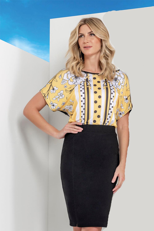 d5d40178ab Blusa Realist Estampada Amarelo - Carmim Modas