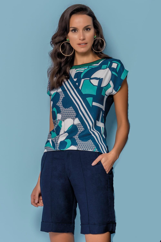 b7e0029888 Blusa Realist Estampa Geométrica Azul e Branco - Carmim Modas