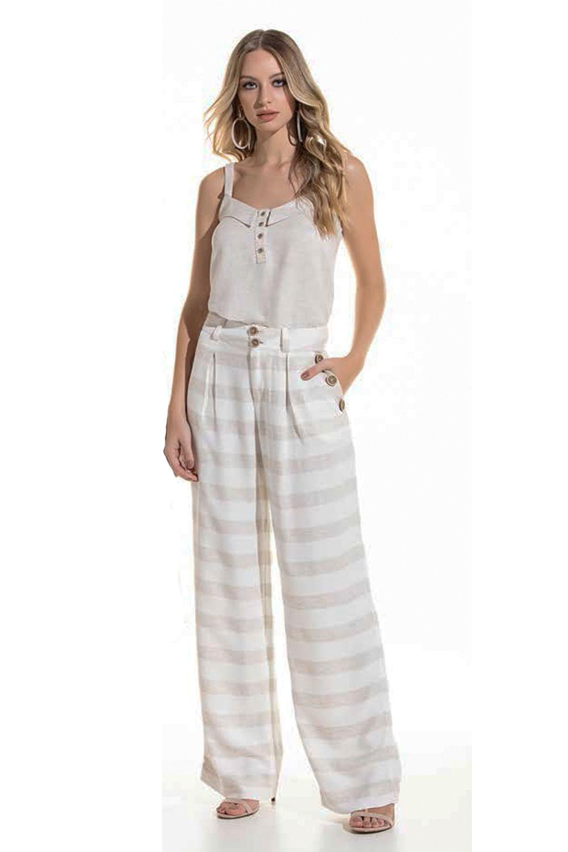 3d94fb851 Calça Pantalona Lado Avesso Creme - Carmim Modas