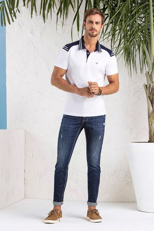 9a7476d7d3 Polo Lado Avesso Listras Branco - Carmim Modas