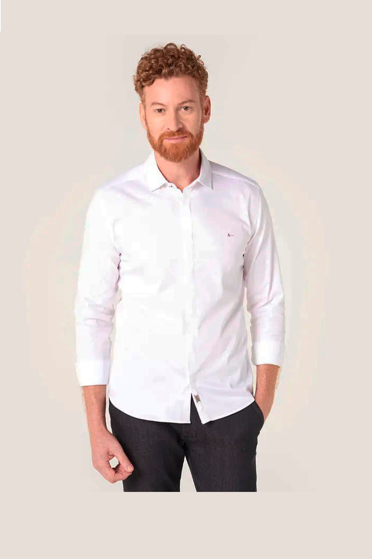 e7c2b563adc80 Camisa Aramis Super Slim Night Cetim Stretch Branco - Carmim Modas