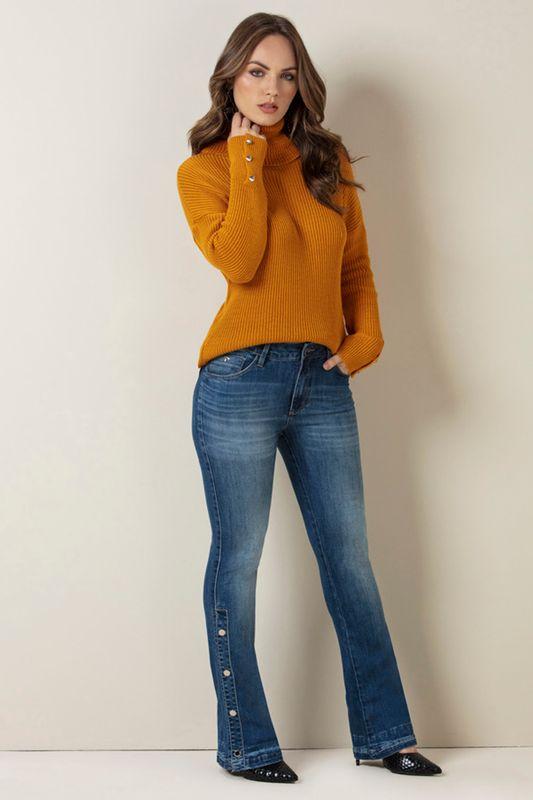 b4d22e221 Calça Jeans Lado Avesso Mignon Flare Azul - Carmim Modas