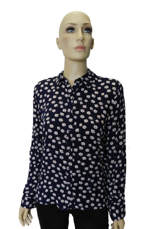 Camisa Facinelli By Mooncity Estampa Flor Azul