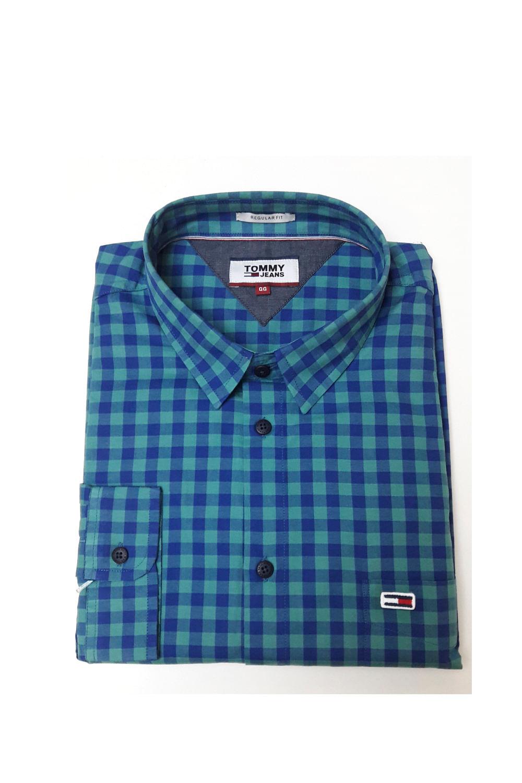 diseño innovador 09a14 05b70 Camisa Tommy Hilfiger Xadrez Verde e Azul